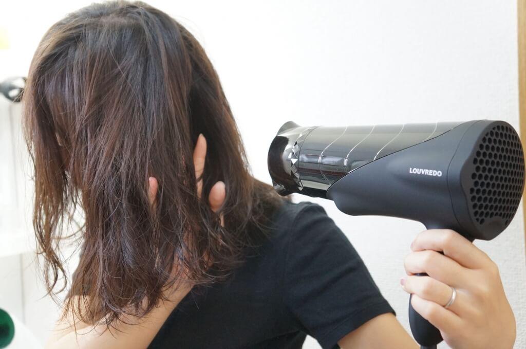 ルーブルドー 復元ドライヤーで髪を乾かす