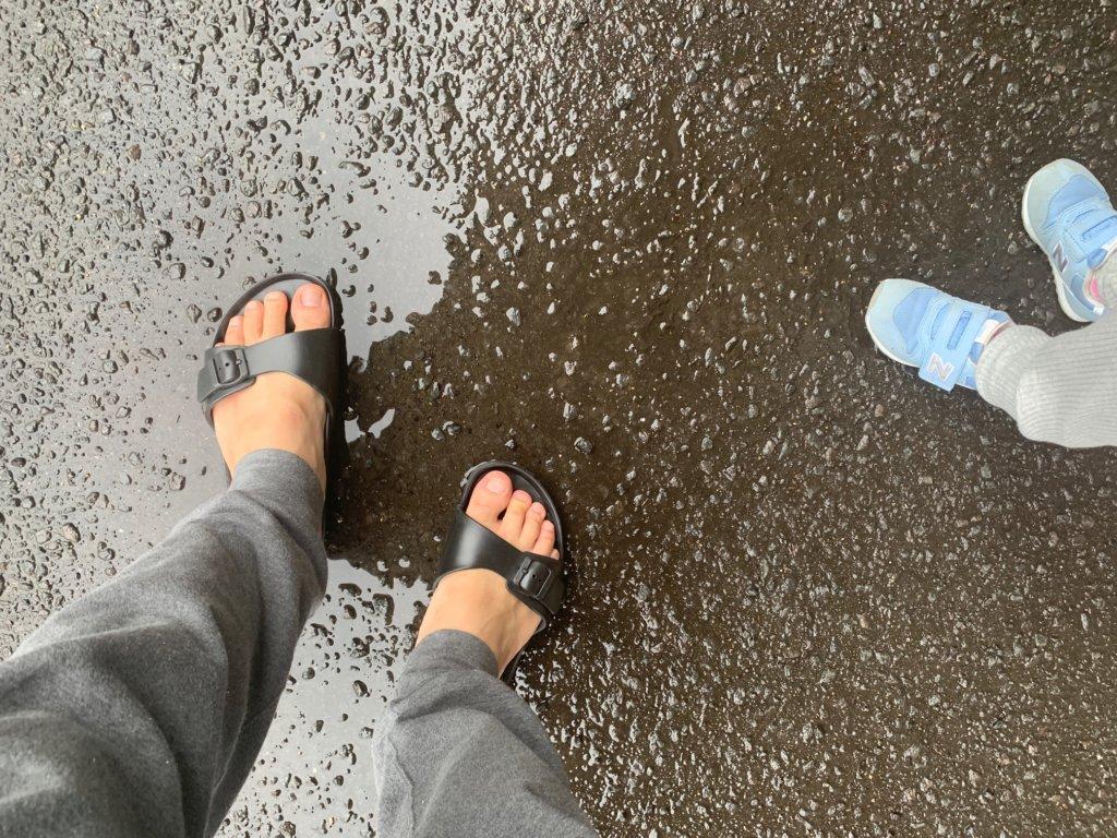 ビルケンシュトックEVA 雨の日